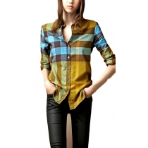 Burberry Women's Brit Multi Color Check  Shirt