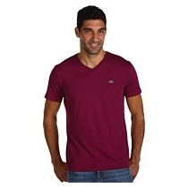 Lacoste Men's Pima Cotton V-Neck T-Shirt Burgundy