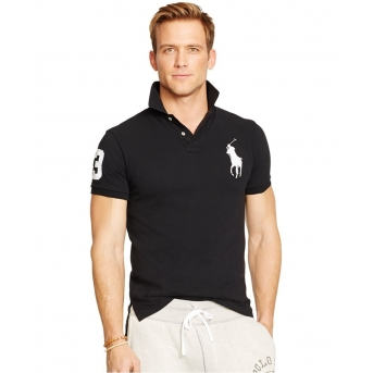 Polo Ralph Lauren Men\u0027s Custom-Fit Big Pony Mesh Polo Shirt - Black