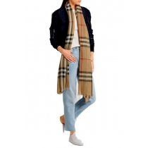 Burberry Checked Carmel Silk-Blend Gauze Scarf