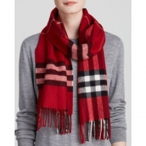 Burberry Exploded Giant Check Cashmere Scarf-Red