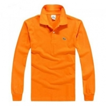 Lacoste Long Sleeve Pique Polo Shirt Orange