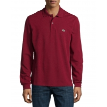 Lacoste Long Sleeve Pique Polo Shirt Burgundy