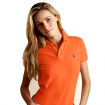 Ralph Lauren Women's Skinny Fit Cotton Mesh Polo Shirt  Orange