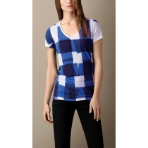 Burberry Brit Check Front  T-Shirt  -Women's