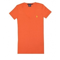 Polo Ralph Lauren Women's V Neck T Shirts Orange
