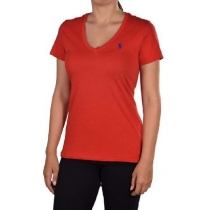 Polo Ralph Lauren Women's V Neck T Shirts  Red