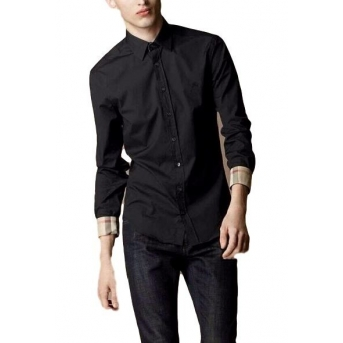 Burberry London Men's  Long Sleeve Check Black Final Sale