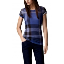 Burberry Check Front  T-Shirt  Blue -Women's