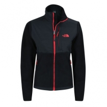The North Face Women's Denali Fleece Jacket Black Red Logo Closeout