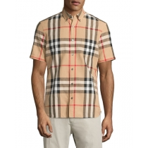 Burberry Men's Exploded Check Short-Sleeve Shirt, Camel