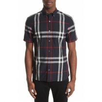 Burberry Men's Exploded Check Short-Sleeve Shirt Black