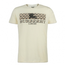 Burberry Men's Crew Neck Graphic Cotton T-Shirt wHITE