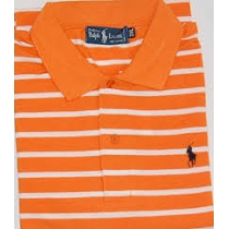 Ralph Lauren Stripe Polo Shirt Orange/white Stripe