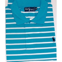 Ralph Lauren Stripe Polo Shirt  Teall/white Stripe