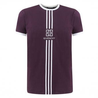 Givenchy Men's Embroidered  Logo T-Shirt  Plum
