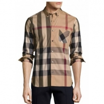 Burberry Men's Thornaby Slim Fit Plaid Sport shirt Brown