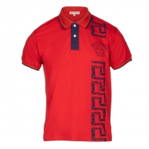 Versace Collection Men's Decorated Polo Shirt  RED