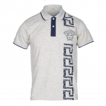 Versace Collection Men's Decorated Polo Shirt  Gray