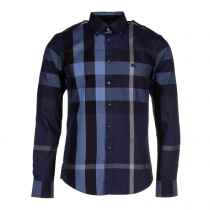 Burberry Men's Cotton Exploded Check Button Down Shirt Navy