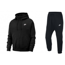 Nike Sportswear Club Fleece Men's Full Zip Hoodie & Pants Set Black