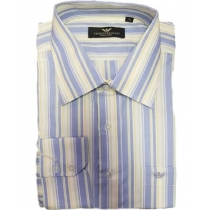 Armani Blue Multi Color Stripe Button Down Shirt Final Sale