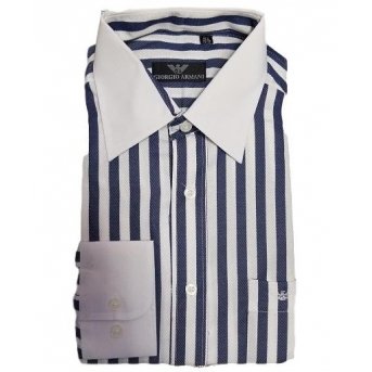 Armani Men's Black White Stripe Down Shirt