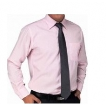 Armani Men's Solid  Pink  Cotton Button Down Shirt
