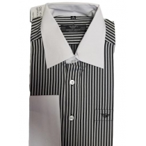 Armani  Men's Striped W White  Collar  Button Down Shirt Final Sale