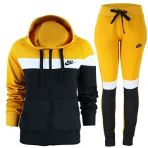Nike Womens Essential Tech Color Block  Full-Zip Fleece Hoodie & Pants Set