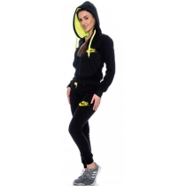 Nike Womens Essential Full-Zip Fleece Hoodie & Pants Set Black