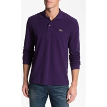 Lacoste Long Sleeve Pique Polo Shirt Purple