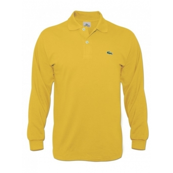 Lacoste Long Sleeve Pique Polo Shirt Yellow