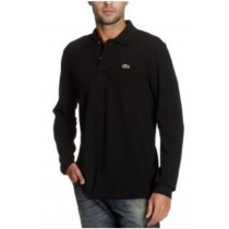 Lacoste Long Sleeve Pique Polo Shirt Black