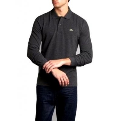 639abee2 Lacoste Long Sleeve Pique Polo Shirt Charcoal Grey - Billsoutlets ...