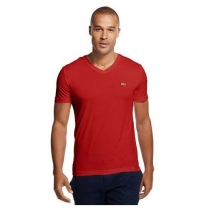 Lacoste Men's Pima Cotton V-Neck T-Shirt  Red