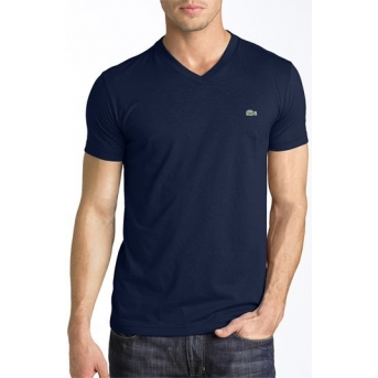 Lacoste Men's Pima Cotton V-Neck T-Shirt  Navy