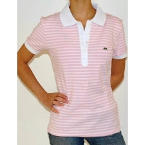Lacoste Stripe Short Sleve Polo Shirt - Lite Pink/White