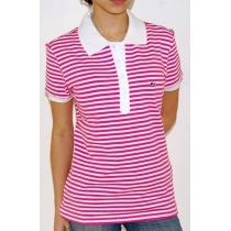 Lacoste Stripe Short Sleve Polo Shirt - Hot Pink/White