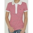 Lacoste Stripe Short Sleve Polo Shirt - Red/White