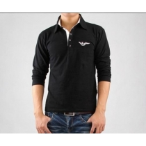 Armani Long Sleeve Polo Shirt Black