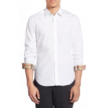 Burberry Britt Men's Long Sleeve Check Inner Collar  White