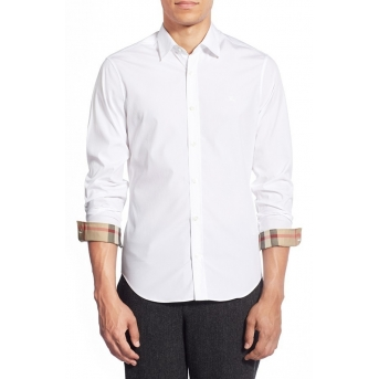 Burberry London Men's Long Sleeve Check Inner Collar  White Final Sale