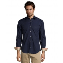 Burberry Britt Men's Long Sleeve  Check Inner Collar Navy