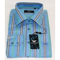 Armani Blue multi   Stripe  Cotton Button Down Shirt Final Sale
