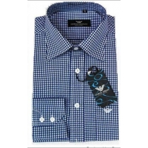 Giorgio Armani Men's Blue Check Cotton Button Down Shirt