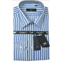 Giorgio Armani Men's White Blue Striped Button Down Shirt
