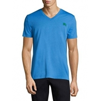 Burberry Brit Men's Lindon Cotton V-Neck Tee in Chalk Blue