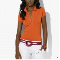 Ralph Lauren Skinny Fit Stretch Mesh Polo Shirt  Orange