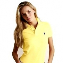 Ralph Lauren Women's Skinny Fit Cotton Mesh Polo Shirt Yellow